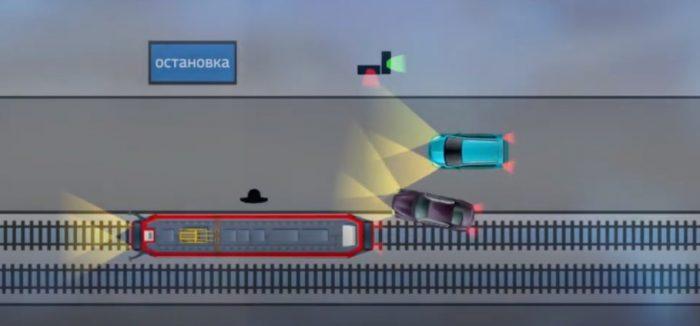 Реконструкция ДТП из сюжета «Вестей»: «мерседес» по путям объехал остановившийся для пропуска пассажира трамвая автомобиль и буквально вплотную к трамваю погнал прямо