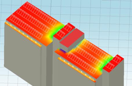 Примерный эскиз размещения кровельно-фасадных панелей солнечной электростанции на здании по ул. Орджоникидзе, 32