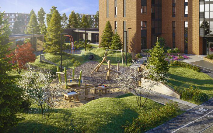 Плотная высадка деревьев будет использована для создания густых массивов, которые вкупе с одиночными деревьями и цветниками создадут зеленую зону