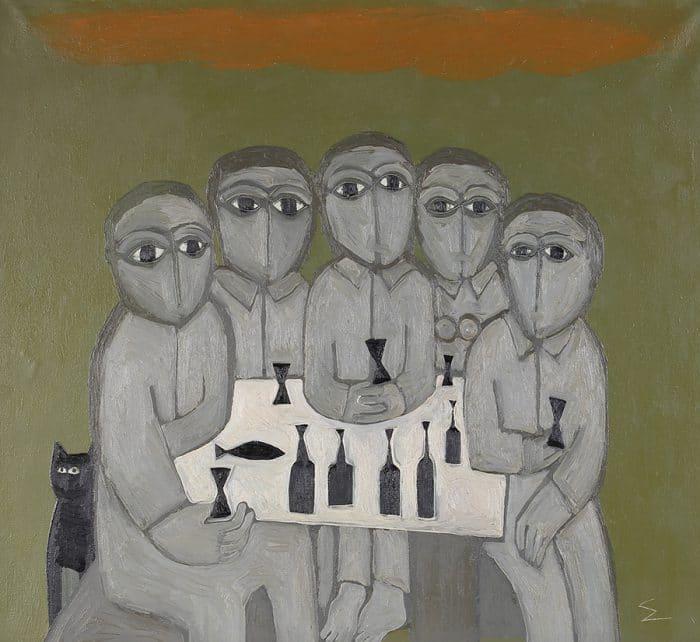 Олег Еловой. «Пиво в саду». Холст, масло (1995). Частное собрание